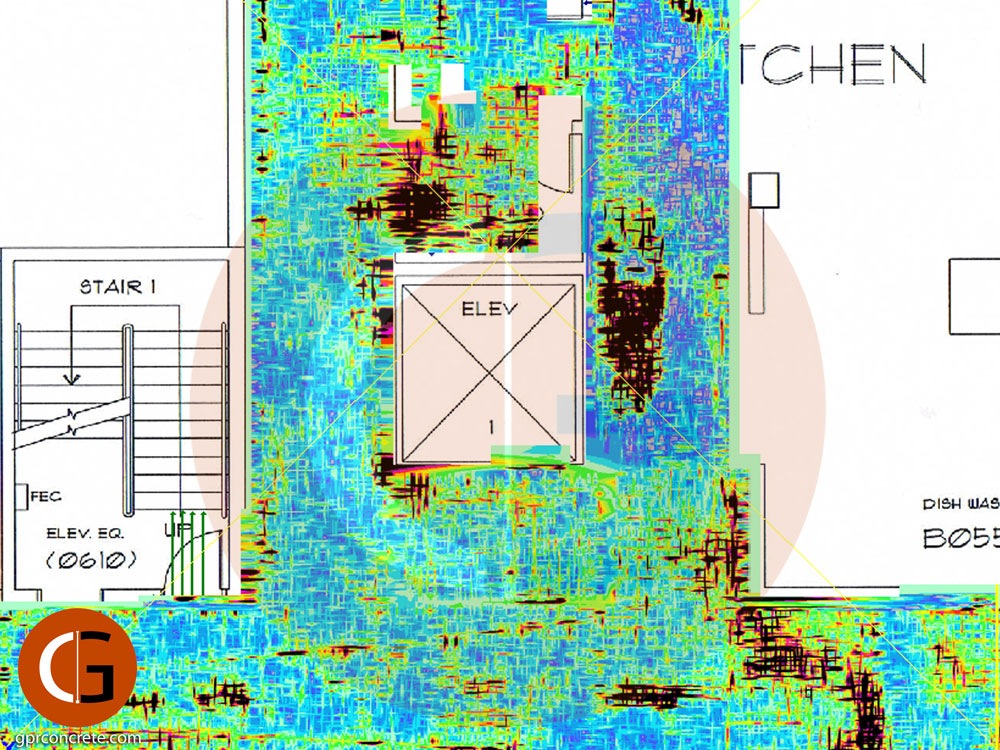 3D GPR data slice depicting voids beneath a concrete slab in Portland OR.